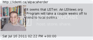 It seems that LISTen: An LISNews.org Program will take a couple weeks off to tend to local politics.